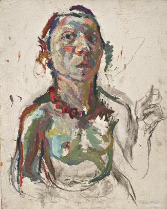 Maria Lassnig -- Selbstporträt expressiv (1945)